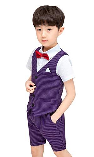 Juego de 4 Piezas de Traje para bebé o niño de Boda con Chaleco + Camisa + Pajarita + Pantalones Cortos para Fiesta o Ceremonia
