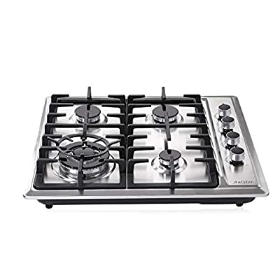Anlyter 24 Inch Gas Cooktop, 4 Burners Built-in Gas Stovetop (Thermocouple Protection), Stainless Steel Gas Cooker LPG/NG Dual Fuel Sealed Gas Hob with Wok Stand and Pressure Regulator