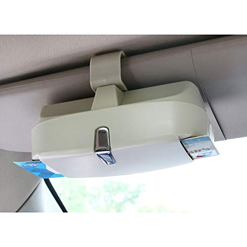 HuiHai - Caja de Almacenamiento para Gafas de Coche con Estuche magnético para Gafas de Sol, Tarjeta de Billete de plástico ABS, Accesorio Organizador para Visera de Coche