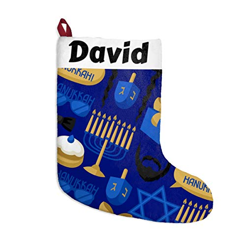 Moni Shades Personalized Hanukkah Holiday Stocking, Add Your Name, Mixed Faith Stocking, Personalized Hanukkah Christmas Stocking