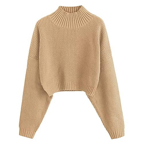 ZAFUL Women's High Neck Lantern Sleeve Ribbed Knit Pullover Crop Sweater Jumper (A-Tan, M)