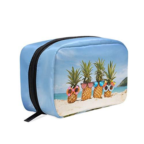 Trousse de maquillage pour femme avec lunettes de soleil sur la plage Motif ananas tropicaux