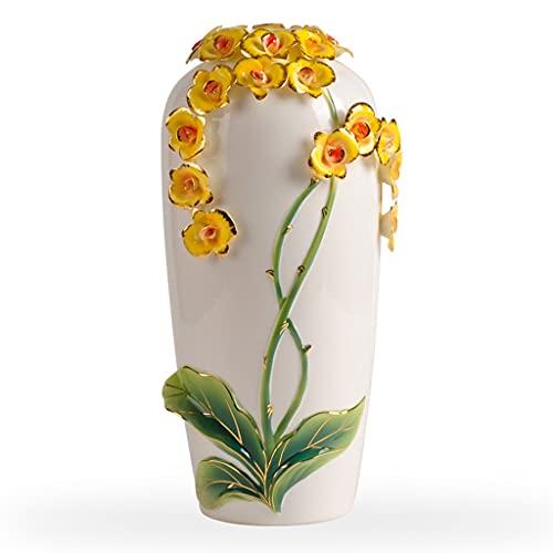 Jarrones para flores Jarrón de extremo alto extremo tridimensional orquídea cerámico jarrón ornamentos sala de estar arreglos flor creativo decoración de la decoración artesanía tv gabinete adornos do