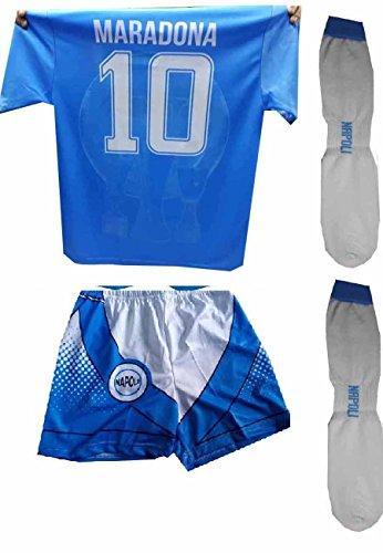 Completino c3 New Pantaloncini Calzettoni e t-Shirt Maglia Azzurra Stampata Mars ricordo Napoli Maglietta Maradona Omaggio Portachiavi (4 Anni)