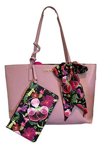 Betsey Johnson XO Zaria Tote with Wristlet and Scarf Blush Floral One Size