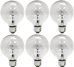 GE Crystal Clear Incandescent Light Bulbs, G25 Globe Light Bulbs, 40-Watts, 410-Lumens, Medium Base, 6-Pack, Vanity Light Bulbs