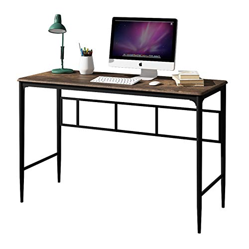 O&K Furniture Home Office Desk, Modern Simple Style Computer Desk, Study Writing Table with Bronze Metal Frame(47-inch, Rustic Brown Finish)