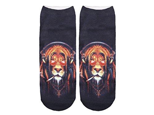 Unbekannt Socken bunt mit lustigen Motiven Print Socken Motivsocken Damen Herren ALSINO, Variante wählen:SO-L021 Reggae Löwe