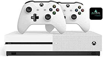 Microsoft Classic Original Xbox One S 1TB HDD with 4K Blu-ray DVD Reader, Two Wireless Controllers White Included,1-Month ...