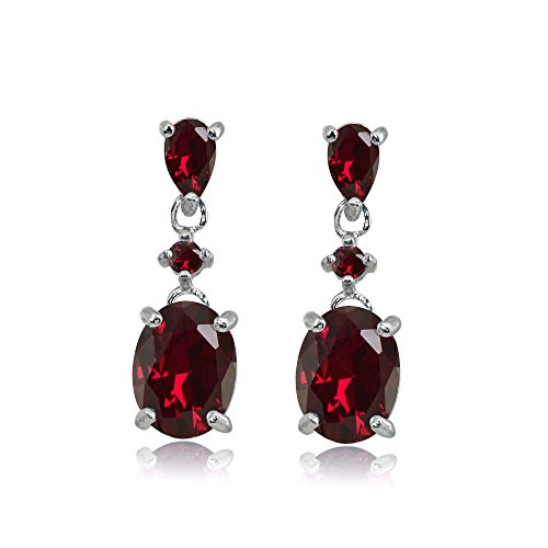 Sterling Silver Synthetic Ruby Oval Three Stone Dangling Stud Earrings
