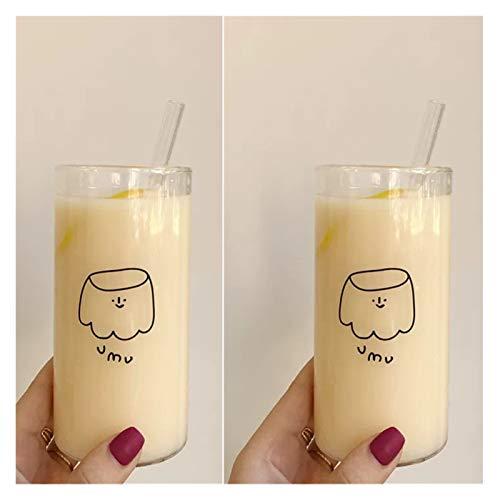 Xx101 Taza para Beber Copa Transparente de Vidrio de Agua Creativa Café de Bebida de café Pudín de Dibujos Animados 400ml Tazas de borosilicato en tumblers (Color : 2pcs)