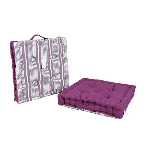 LEYENDAS Cojin para Silla de 40 x 40 x 8 cm para Interior y Exterior de 100% algodón cojín Acolchado/cojín para el Suelo (Rayas/Morado, 1)
