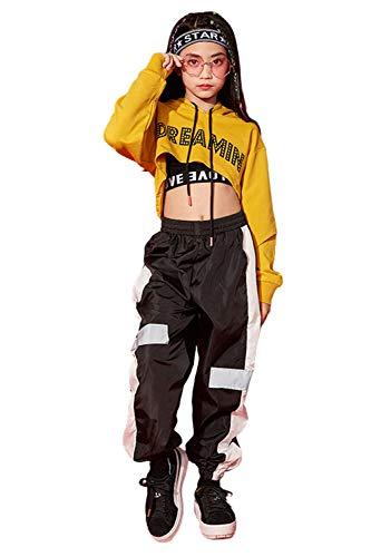 3pcs Mädchen Hip Hop Dance Kostüm Kinder Street Dance Kleidung Set Cropped Hoodie, Tank Top, reflektierende Hosen (164 (11-12 Jahre), Gelb)