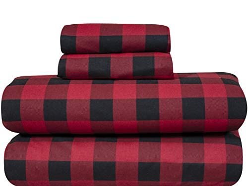 Bliss Casa 4 Piece 100% Cotton Flannel Sheets Set - High GSM Deep Pockets, Warm Super Soft Breathable Flannel Sheets Set. Flannel Bed Set Include Flat Sheet, Fitted Sheet & Pillowcases (BUFFALO, Full)