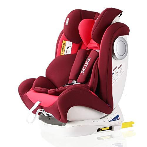 LETTAS Baby Kindersitz Autokindersitz Gruppe 0+1/2/3 (0-36 kg/0-12 Year) mit Protektoren seitliche Isofix Top Tether ECE R44/04 (Rot-3)