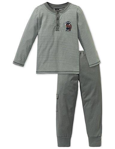 Schiesser Jungen Big Buff Kn Anzug lang Zweiteiliger Schlafanzug, Grün (Khaki 701), 116
