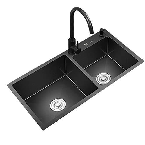 Fregadero De Cocina con Colador Fregadero De Cocina De Acero Inoxidable Fregadero Nano Negro De Doble Tanque Fregadero Engrosado para El Hogar (Color : Black, Size : 80 * 45cm)