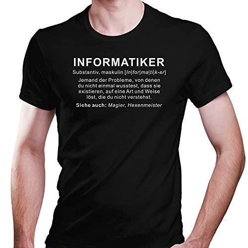 DragonHive Herren Fun T-Shirt Informatiker Wikipedia Job Beschreibung, Größe:XL, Farbe:Schwarz