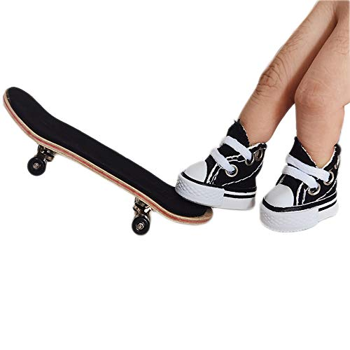 Micomon Professional Finger Skateboard Shoes Kits, Maple Complete Wooden Fingerboard with Cute Mini Skate Shoes