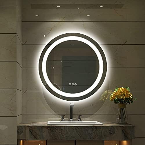 LED Spiegel Bad Rund 500mm, Kosmetikspiegel mit Beleuchtung,Touch-Schalter,Bruchfest,Randlos,Demister-Pad,Kaltweiß /Warmweiß/Neutralweiß(Hintergrundbeleuchtung und Vorderes Licht)
