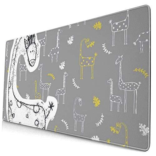 Gekritzel-Giraffen mit Blättern Designmuster XXL XL Große Gaming-Mauspadmatte Lange, verlängerte Mousepad-Schreibtischpad rutschfeste Gummi-Mäusepads Genähte Kanten (29,5 x 15,7 x 0,12 Zoll)