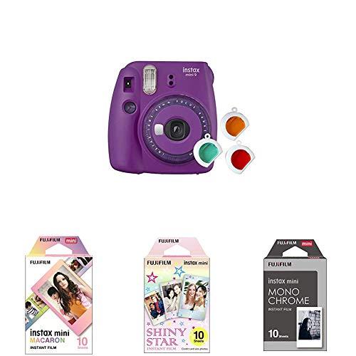 Fujifilm instax Mini 9 Kamera mit Farblinsen, lila + Instax Mini Frame WW1, Mehrfarbig + Instax Mini Star WW1 Film, Rosa + Instax Mini Frame WW1, Monochrom