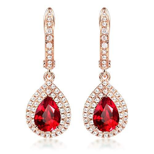 Beydodo Pendientes de Mujer Oro Rosa,Pendientes Oro Rosa 18k Gota de Agua con Diamante y Rubí 2ct