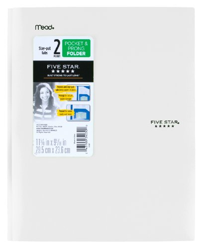 """Five Star 2-Pocket Folder, Stay-Put Folder, Plastic Colored Folders with Pockets & Prong Fasteners for 3-Ring Binders, Great for Home School Supplies & Home Office, 11-5/8"""" x 9-5/16"""", White (72494)"""