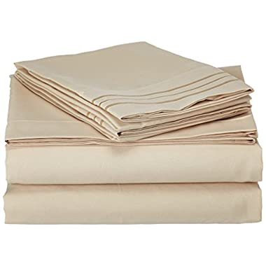 Sweet Home Collection Supreme 1800 Series 4pc Bed Sheet Set Egyptian Quality Deep Pocket - King, Beige