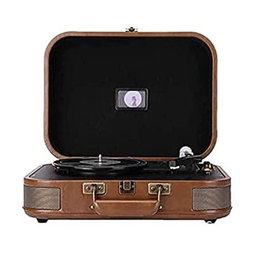 WGHH Valigia Record Player con Altoparlanti, Giradischi in Vinile a Trasmissione a 2 velocità, Portatile Player Player Phonograph per Record in Vinile, Supporto Vinile Record e Bluetooth