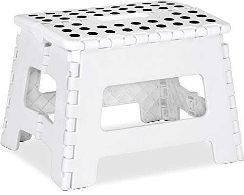 Utopia Home Foldable Step Stool for Kids  11 Inches Wide and 8 Inches Tall  Holds Up to 300 lbs  Lightweight Plastic Design White Pack of 1
