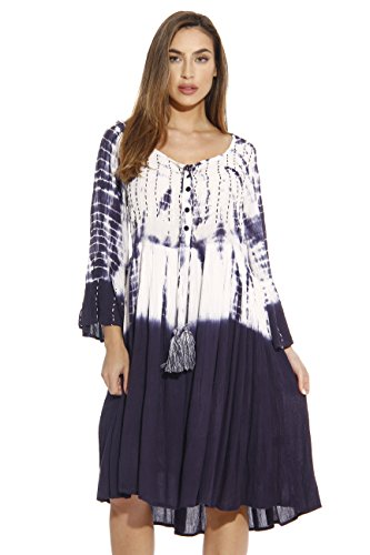 Riviera Sun Tie and Dye Embroidered Caftan Cover Up Dress