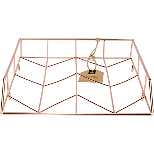 U Brands Desktop Letter Tray, Wire Metal, Copper/Rose Gold