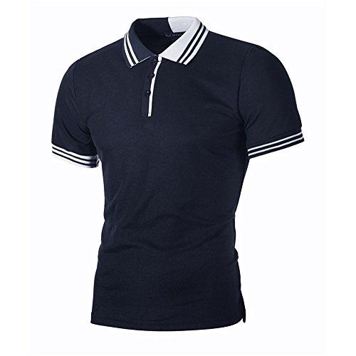 Yowablo Poloshirt Herren XXL Poloshirt Herren Weiss T-Shirt Top Bluse MäNner Casual Slim Kurzarm Patchwork Mode PersöNlichkeit (L,7Marine)
