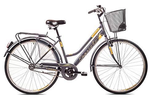 breluxx® 28 Zoll Damenfahrrad Amsterdam, Nexus 3 Gang Nabenschaltung, Rücktrittbremse, Citybike mit Korb + Beleuchtung, Retro Bike, antrazit - Modell 2020