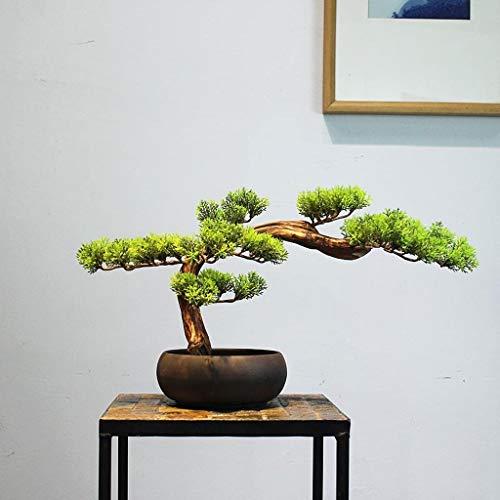 Planta artificial con maceta Árbol de simulación de bienvenida de pino artificial Bonsai, Decoración Nuevo chino Zen Adornos Pequeño árbol de pino en maceta Sala Porche mesa de té Adornos Artificial P