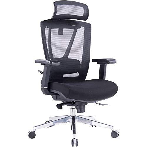 Büromöbel Online | Ergonomischer Bürostuhl mit Netz-Rückenlehne, Kopfstütze, Sitzschiene & Lordosenstütze in Schwarz| bis 150kg belastbar | Contract 24/7
