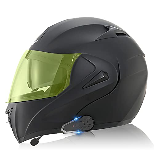 Casco Bluetooth para motocicleta, Casco Bluetooth modular tipo abatible para llamadas manos libres/Intercomunicador / MP3 / FM/DOT/ECE Casco para motocicletawang 8,M=57-58CM