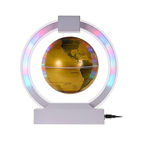 aibesy 6 Pulgadas Levitación Magnética Globo Flotante Iluminación Golden Earth Globe con Base de Luz Circular de Color LED para el Hogar Oficina Escritorio Decoración Niños Regalo Educativo