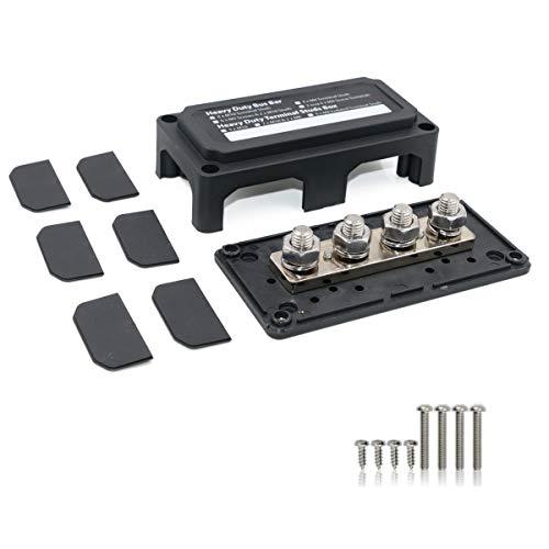 T Tocas 300 Ampere Sammelschienenbox mit 4 x M10 Klemmbolzen Schwerlastmodul Design Stromverteilerblock 300A Sammelschiene 12V-48V DC