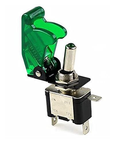 CGGA - Interruttore a levetta per auto, barca, camion, illuminato a LED, con sicurezza per aerei e flip up, colore: verde 12V20A trasparente (colore: 1 set)