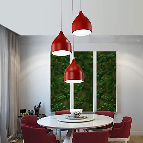Restaurant kroonluchter Scandinavisch restaurant met drie koppen LED tafellamp creatieve persoonlijkheid eetkamer modern minimalistisch smeedijzer lichtkleur wit Disco rood 3