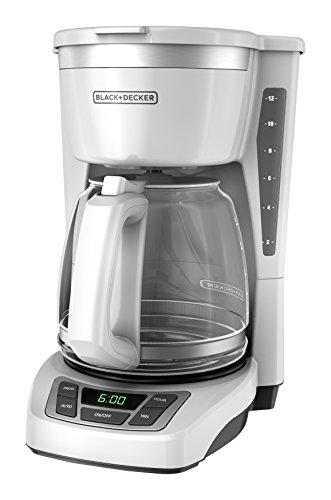Black+Decker CM1160W-1 CM1160W 12-Cup Programmable Coffeemaker, White/Stainless Steel
