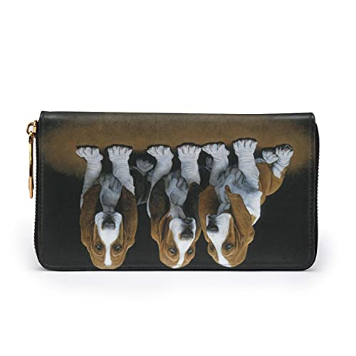 Lindo Basset Hound Cachorros Impreso Cuero Cartera Mujeres Zip Bolso Embrague Bolsa...