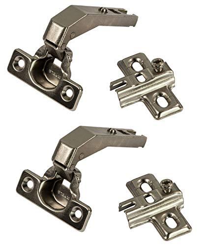 Gedotec Topfscharnier Küche Stollenband Topfband Scharnier - METALLA | Schrank-Scharnier mit Schließautomatik | Stollenscharnier für Möbel & Drehtüren | 2 Stück - Möbelscharnier mit Montageplatte