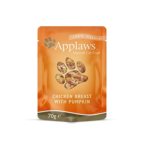 Applaws 100% Natural Wet Cat Food, Chicken Breast and Pumpkin In Broth Pouch, 70g (Pack of 12)