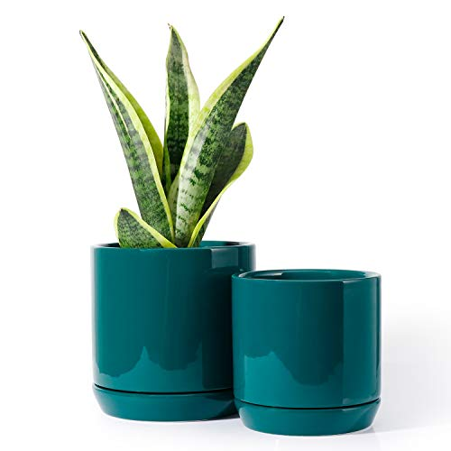 POTEY 053107 Planter Pots Indoor - 5.1 + 4.2 Inch Modern Home Decor Glazed Ceramic Flowerpot Bonsai Container with Drainage Holes & Saucer for Plants Flower Aloe(Plants Not Included)