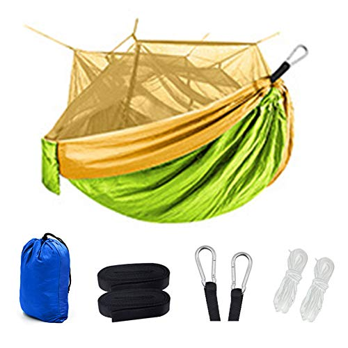 GKJ Hamaca, con mosquitera ultraligera para viajes, camping, hamacas, capacidad de carga de 200 kg (260 x 140 cm) transpirable, bolsa de almacenamiento x1, para senderismo, mochileros, aventura en la playa, múltiples opciones