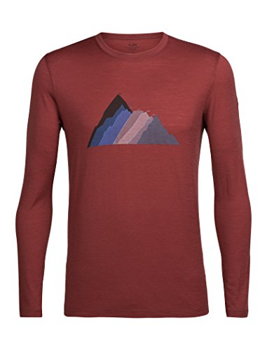 Icebreaker Herren Merino Tech Lite Long Sleeve Tee W/Graphic, Herren, Seven Summit Stack/Vintage Red, X-Large