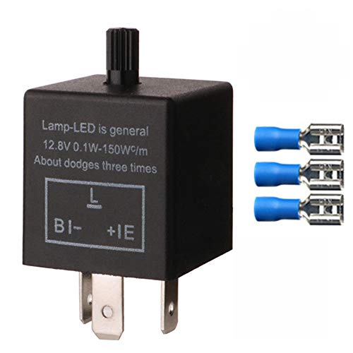 Gebildet 1 Stück 3 Polig Blinkrelais CF-14KT, Blinker Relais für LED Blinker Elektronische, Einstellbare Blinkerrelais 12V 0,1W-150W für Fahrzeug Auto Motorräder, mit 3 Terminals